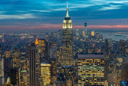 Photo  Night view of New York Manhattan during sunset