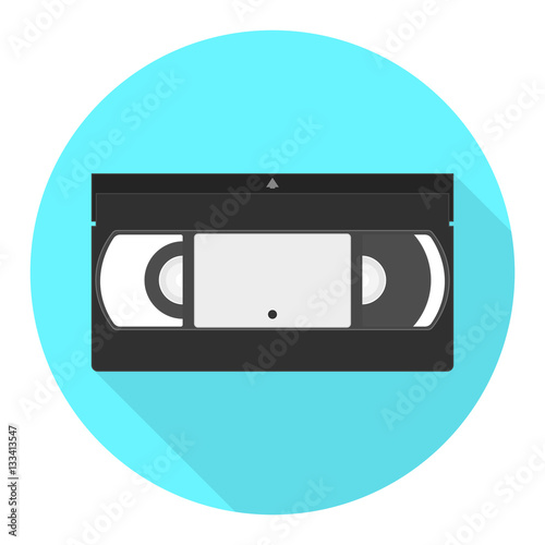 Fotografia, Obraz  Vector VHS cassette icon. Videotape flat icon.