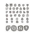 Cartoon style alphabet vector clip-art. Comic type