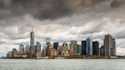 Fototapeta New York financial district from the Hudson river