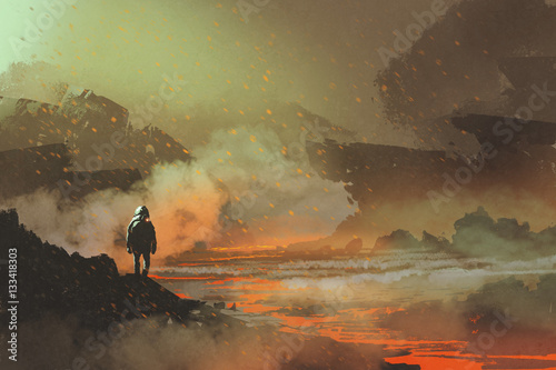 Poster UFO astronaut standing in abandoned planet with volcanic landscape,illustration painting