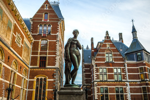 AMSTERDAM, NETHERLANDS - JANUARY 09 2017: Rijksmuseum - national museum dedicated to arts and history. One of the most popular museum in Europe. January 09, 2017 in Amsterdam, Netherlands.