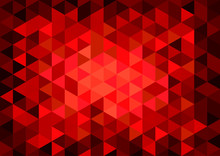 Vector Geometric Background, Mosaic On Glass With Light In Red