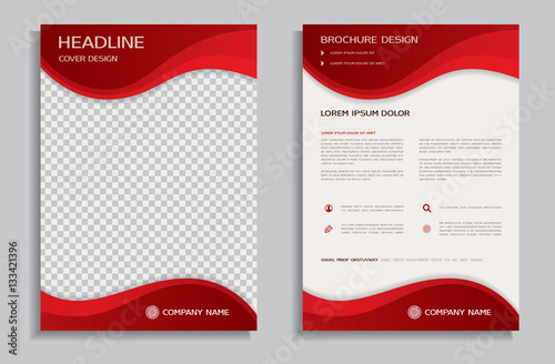 Photo  Flyer design template - brochure with red wavy background, front and back page