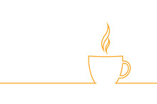 Simple Flat Line Designe A Cup Of Coffee. Isolated Vector Illustration With Copy Space