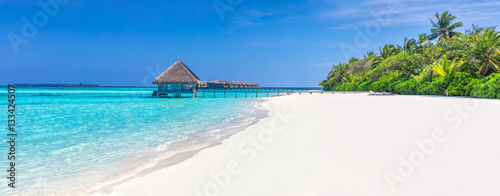 Foto auf Gartenposter Strand Panorama of wide sandy beach on a tropical island in Maldives
