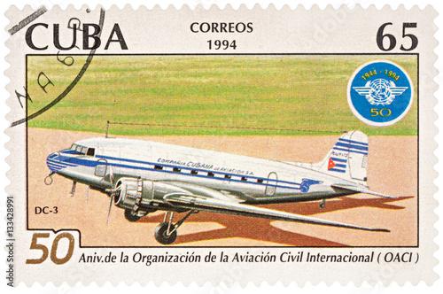 Fotografia  Aircraft DC-3 on postage stamp