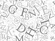 Seamless Background Pattern Mosaic Of Grey Letters On White Background. Simple Flat Vector Illustration.