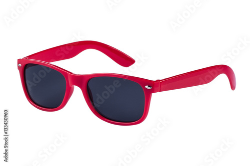 Fototapeta Modern sunglasses isolated on white background with copy space