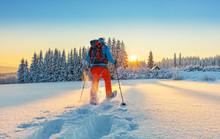 Snowshoe Walker Running In Pow...