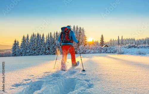 Wall Murals Winter sports Snowshoe walker running in powder snow