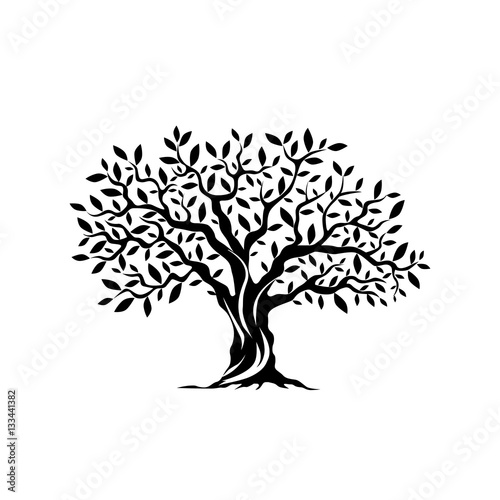 Olive tree silhouette icon isolated on white background. Fototapete