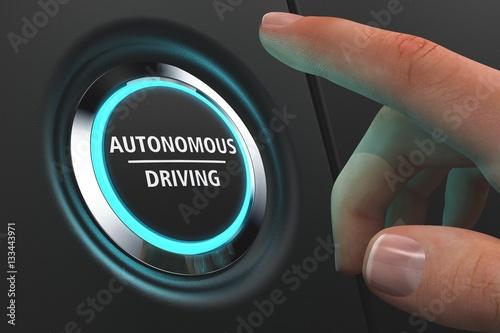 Fotografie, Obraz  Button Autonomous Driving - Hand