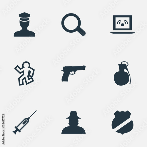 Photo  Set Of 9 Simple Offense Icons