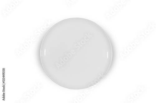 Flat empty white plate shallow on white background directly from above