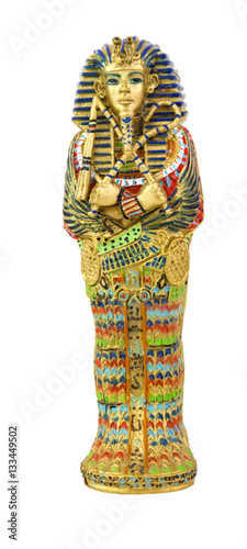 Toy model of  Egyptian sarcophagus and mummy. Isolated. Wallpaper Mural