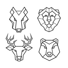 Wild Animals Geometric Head Vector Set