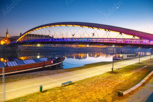 Fototapeta Bernatka footbridge over Vistula river in Krakow, Poland obraz