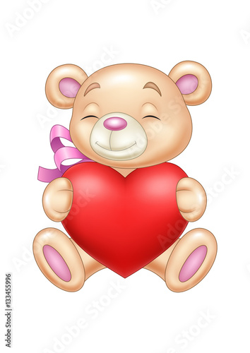 Cute bear holding heart #133455996