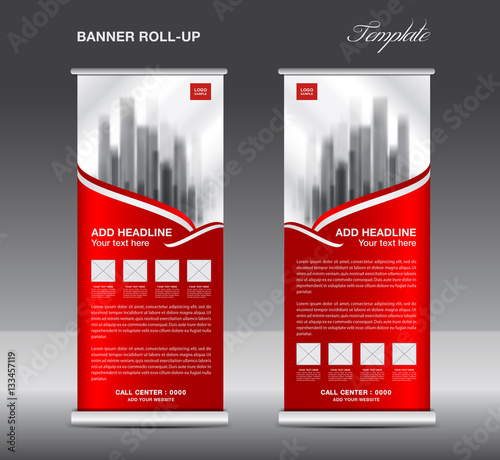 Red Roll Up Banner Template Vector Flyer Advertisement X
