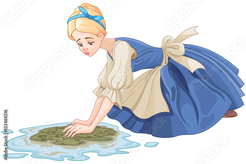 Canvas Prints Fairytale World Sad Cinderella Cleaning the Floor