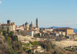 Bergamo - Old city (Citta Alta). One of the beautiful city in Italy. Lombardia. Landscape from the hills during a beautiful winter day with blue sky.