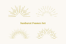 Sunburst Frames Set. Retro Gol...