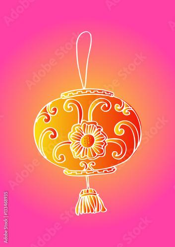 Lantern chinese, sketch Poster