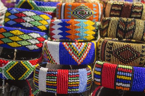 Fotografía  African bright colorful beads bracelets