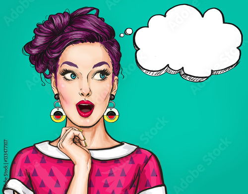 Surprised young sexy woman with open mouth.Comic woman. Amazed women. Pop Art girl. buy, wow, sale, style, retro, cool, model, flirt, love, fashion, gossip, thought, pop, shopping, new clothes, kitsch