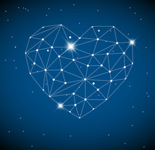 Heart Made From Triangles As Constellation