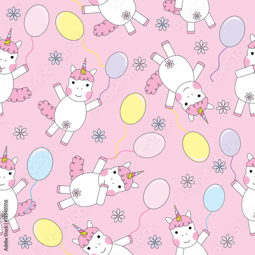 Seamless Background Of Birthday Illustration With Cute Unicorn Girl