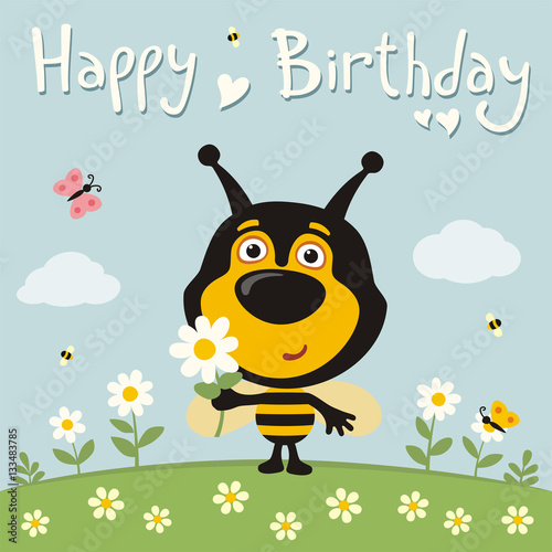 Happy Birthday Cute Bee With Flower On Meadow Card Funny In