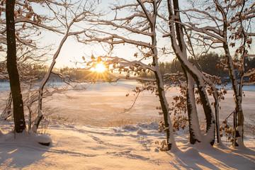 Fototapeta Inspiracje na zimę Winter sunset