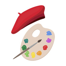 Painting Palette And Beret Icon In Cartoon Style Isolated On White Background. France Country Symbol Stock Vector Illustration.