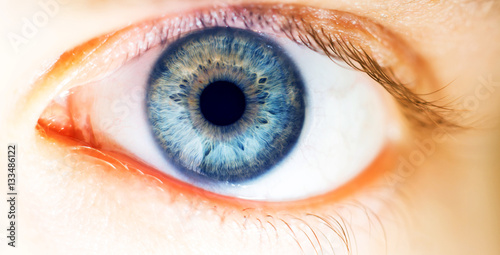 Poster de jardin Iris beautiful human eye, macro, close up blue, yellow, brown, green