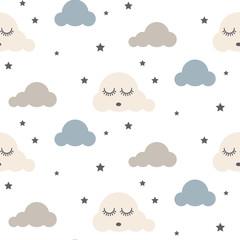 fototapeta śpiące chmury skandynawski styl