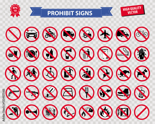 set of prohibited sign ( do not smoking, no drinking and