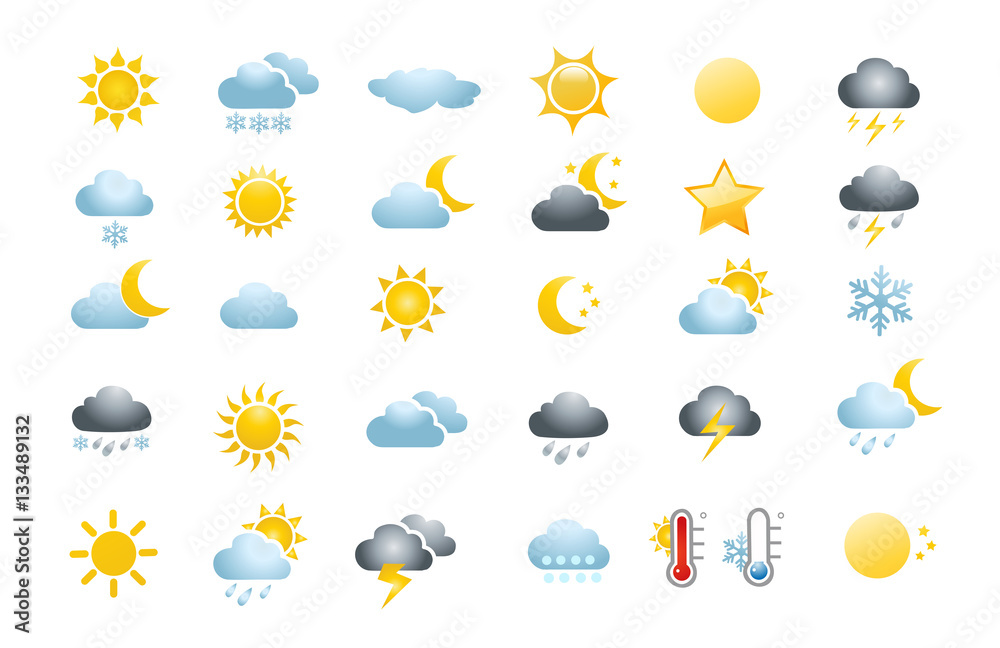 Fototapety, obrazy: 30 weather icons on white background