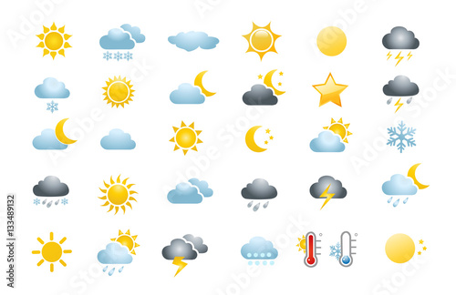 30 weather icons on white background Tablou Canvas