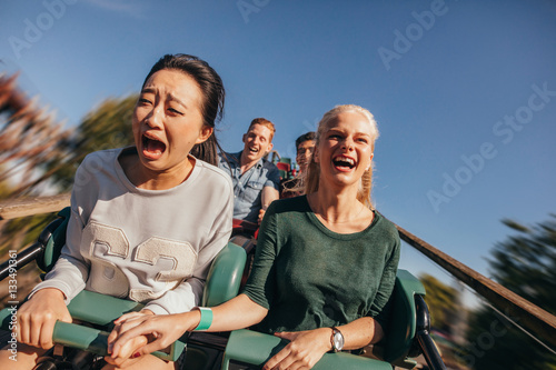 Poster Attraction parc Friends cheering and riding roller coaster at amusement park