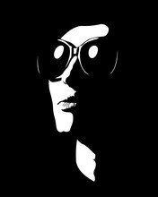 Abstract Shapes Silhouette Portrait Of Woman Wearing Sunglasses Looking Away.  Easy Editable Layered Vector Illustration.