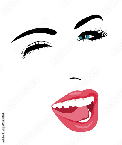 Simple Pop Art Style Blue Eye Woman Face Winking At Camera With Mouth Open Easy Editable Layered Vector Illustration Buy This Stock Vector And Explore Similar Vectors At Adobe Stock