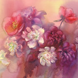 bouquet of violet and white peonies watercolor - 133495921