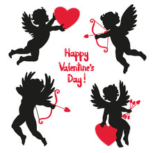 Set Of Cute Angels. Silhouette Of Cupids. Valentines Day. Vector Illustration.