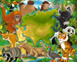 Cartoon animals of asia - map - space for title - illustration for children
