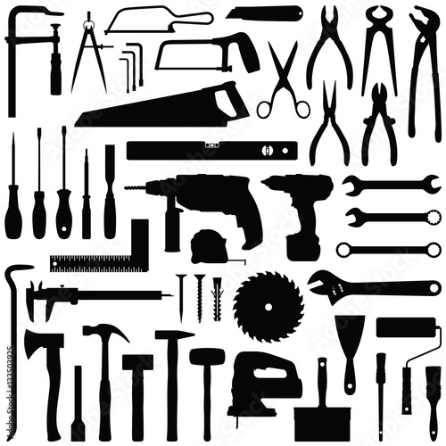 Valokuva Construction tool collection - vector silhouette