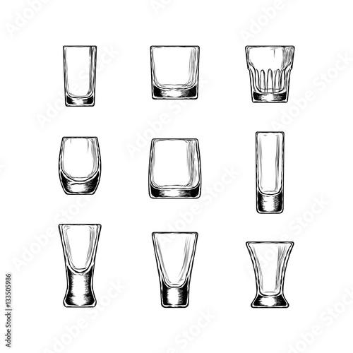 Foto op Canvas Alcohol Set of illustration stemware