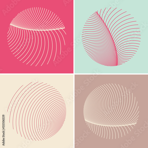 Photo  four stylized round feathers in pink and blue shades