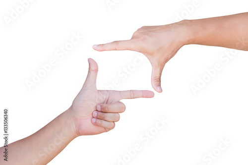Valokuva  Hands showing  frame on gesture with clipping path